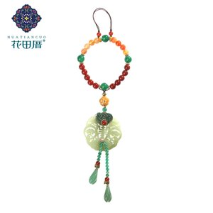 Ethnic Hollow Round Traditional Chinese Ja de Chip Brooch Water Drop Tassel Thread Knot Beads Chain Brooch XZ-18121