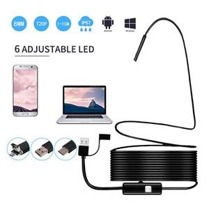 Cámara de endoscopio USB 3 en 1 8mm 720P HD Cámara de inspección de boroscopio semirrígida IP67 a prueba de agua con 6 LED para endoscopio android