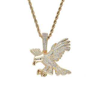 Eagle Pendant Necklace Gold Plated Copper Inlaid Cubic Zirconia Eagle Pendant 60cm Stainless Steel Chain Hip Hop Jewelry