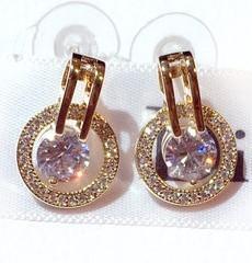 Super brillant nouveaux ins boucles d'oreilles à la mode cercle zircon diamant design de luxe de la mode pour l'or argent broche en argent des filles femme