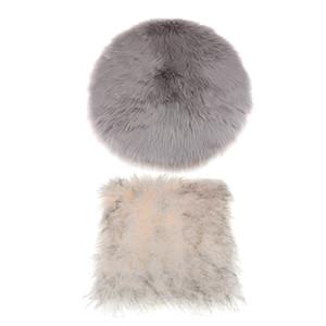 Set of 2, Artificial Sheepskin Area Rug Soft Fluffy Faux Fur Carpet Mat Seat Pad Cushion Window Mat, 40x40cm  16x16inch (Square + Round)