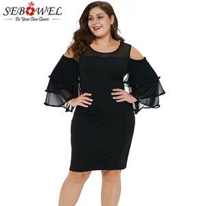 SEBOWEL Seksi Siyah Kapalı Omuz Artı Boyutu Elbise Kadınlar Uzun Kollu Örgü Bodycon Parti Elbise 2019 Kadın Fırfır Büyük Boy 5XL