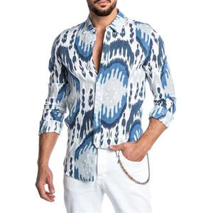 Mens Floral Printed Casual Shirts Male Long Sleeve Slim Shirt Loose Button Shirts Hawaii Summer Beach Outfits