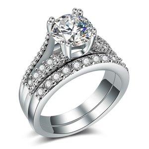 Anneaux de fiançailles de mariage élégant réglés 2 accessoires d'anniversaire d'argent de PCS avec la pierre brillante complète de Cubiz Zircon