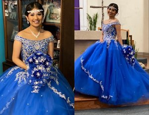 Stunning Sliver Embroidery Off SHoulders Quinceanera Prom Dresses Princess with Sleeves Tulle Corset Beaded Evening Sweet 15 Dress Long