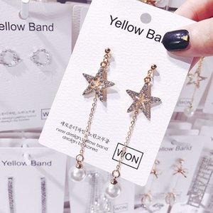 S925 küpe iğneler pentagram inci püskül küpe Koreli mizaç süper basit ağ sent kırmızı küpe uzun bölümünü yıldız
