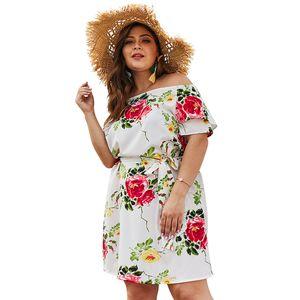 Плюс размер платье 2019 самый продаваемый плюс размер Слэш шеи регулярные рукава 3D печатные женские платья свободные летние дамы повседневное платье