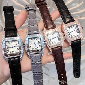 Top Famous schönes Modell Mode Dame spezielle Uhr echtes Leder kausale Frauen-Uhr-Diamant-Armbanduhr-Luxus weibliche Uhr Dropshipping