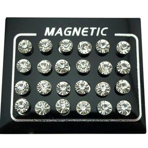 REGELIN 12 Pair / lote 4/5/6/7 milímetros Redonda Cristal Rhinestone Magnet Brinco Puck Mulheres Homens Falso Magnetic Orelha Jóia