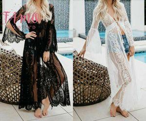 Les femmes See Through Cover Up Sarong Kaftan Robes longues Summer Beach Femme Mesdames vacances Casual Maxi Dress 2019 Nouveautés