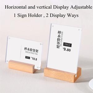 90 * 60mm Material De Acrílico Horizontal Vertical Suporte De Papel Titular Display Stand L Forma Tabela Produtos Etiqueta Preço Etiquetas Titular Do Sinal