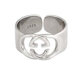 진짜 925 스털링 실버 G 링 중공 문자는 단순한 패션 보석 힙합 펑크 링 파티 발렌타인 데이 선물 링