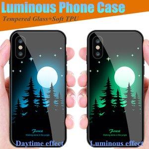 2 pcs luminosa luz phone case para iphone x 8 7 6 6 s plus vidro temperado + tpu tampa traseira shell para iphone xr