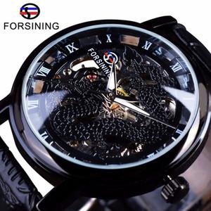Forsining cinese disegno semplice di cassa trasparente uomo Orologi di marca superiore di lusso di scheletro della vigilanza di sport orologio meccanico orologio maschile