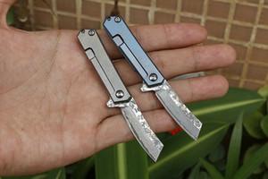 Vendita calda! Piccolo Flipper coltello pieghevole VG10 Damasco Steel Blade TC4 lega in titanio maniglia cuscinetto a sfere EDC coltelli da tasca