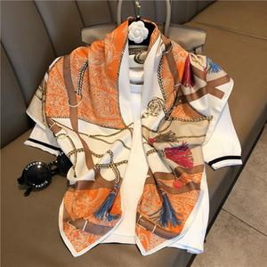 Bütün İlkbahar ve yaz yeni moda - ipek eşarplar etrafında şal küçük kare baskı şal baskı saf ipekten Taklit