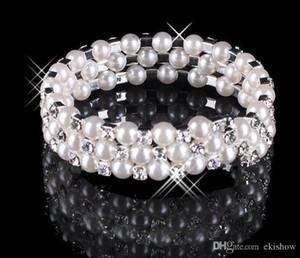 2019 In Bracciali nuziale Jewery Monili Stock perla di Faux Bracciale da sposa Accessori Lady di promenade del partito di sera donne libere di trasporto