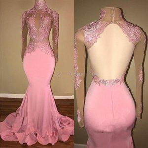 Elegant Pink Mermaid Evening Dresses 2020 High Neck Long Sleeves Appliques Beaded Satin Backless Prom Dresses Formal Evening Gowns