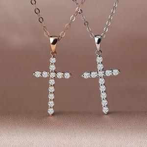 Kreuz Halskette Stil glänzend moissanite Anhänger für Halskette reales Silber 925 Perle glänzend besser als diamond Mädchen Geschenk Chirst Geschenk