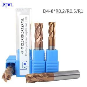HRC60 4 flautas R0.2 0,3 0,5 1,0 * D4mm Raio do canto de revestimento final moinho CNC espiral Router bits de Ferramentas de fresagem