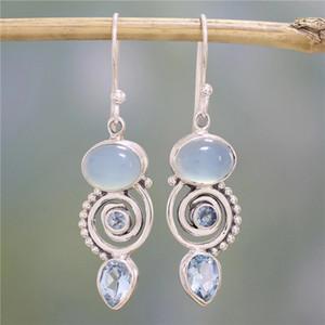 earrings Crystal Water Drop Spiral Flower Earring Retro Ear Rings Dangle jewelry women earrings des boucles d'oreil drop shipl