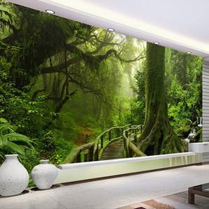 Benutzerdefinierte 3D Wallpaper Grün Big Tree Natur Landschaft Wald Fototapete Tapeten Für Schlafzimmer Wohnzimmer Sofa TV Hintergrund Kunst