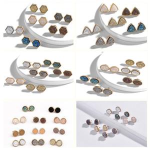 regalo dell'oro Druzy Drusy orecchini placcati Hexagon rotonda Geometria di pietra orecchini di Natale