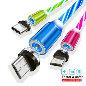 삼성 S8 S9 S10 참고 용 LED 빛 빠른 충전 케이블을 흐르는 마이크로 USB 케이블 빠른 충전기 케이블 C LED 마그네틱 케이블 유형 9 10 htc의
