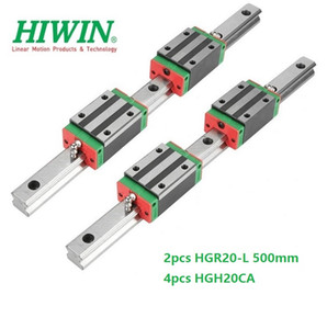 2pcs Original New HIWIN HGR20 - 500mm linear guide rail + 4pcs HGH20CA linear narrow blocks for cnc router parts