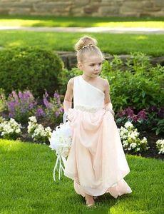 Bir Omuz Çiçek Kız Elbise Düğün İçin Bir Çizgi Şifon Çocuk Gelinlik Modelleri Custom Made Ucuz İlk Communion elbise