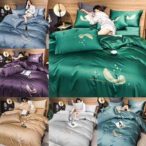 Fashion Bedding Set 100% cotton Duvet Cover Pillowcase Bed Sheet feather Twin Queen King Size Bed Sets Bedclothes Flat Sheet drop ship