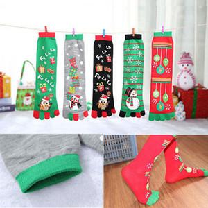 1 accoppiamento delle donne del nuovo inverno caldo lana Toe Socks regalo di Natale sveglio del fiocco di neve dei cervi calzino comodo Filler Sock