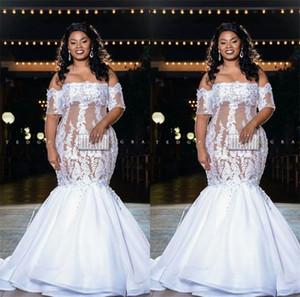 Vintage Mermaid Lace Wedding Dresses Off The Shoulder Plus Size Bridal Gowns Gorgeous Beading Engagement Dresses 2021