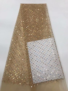 2020 African Net Lace Frick, High Quality pink Sequins Nigerian Wedding Fabrics 5Yards Sequins French Tulle