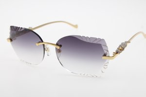 Atacado sem aro dos óculos de sol New Esculpido lente 8200762 série leopardo óculos de sol New óculos sem aro Hot Óculos de Sol de driver com caixa Nova