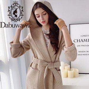 Dabuwawa Elegant Solid Hooded Long Woolen Coat Women Long Sleeve Sashes Pockets Autumn Winter Blend Overcoats Female D18DLN063