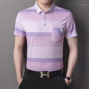 Bouton de ventilateur mâle contrasté pour hommes Casual Polo Confortable Designer Imprimer Hommes Bandes Couleur Blouse T-shirts Vêtements Trap