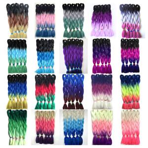 Extensiones de pelo de trenzado Jumbo de 24 pulgadas Alta temperatura Kanekalon Sintético Ombre Twist Hair Múltiple Tres tonos Coloreado Cabello de trenzado 100 g