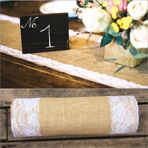 Burlap Lace Hessian Table Runner, Rustic Natural Jute Country Wedding Party Bridal Shower Babe Shower Dining Table Decoration 12x108 inches