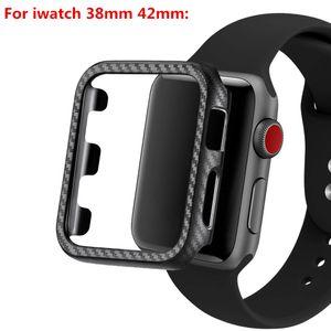 De peso ligero de fibra de carbono PC protección de la cobertura para la Serie del reloj de Apple 4 3 2 1 caso de parachoques para iWatch Accesorios para el marco 40/44 mm 38 / 42mm