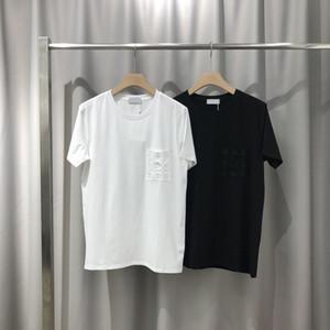 2020 de primavera y verano de lujo de París Europa bolsillo bordado camiseta Moda Hombres Mujeres camiseta de algodón puro Tee Top