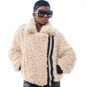 Ceket Moda Gevşek Katı Renk Yaka Boyun Kabarık Coats Yeni Geliş Kadın Coats Kış Kadın Tasarımcı