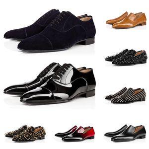 2020 christian louboutin fannulloni degli uomini di lusso di marca scarpe casual triple nero rosso sneakers in vernice opaca picco per fondi piatti matrimoni Business