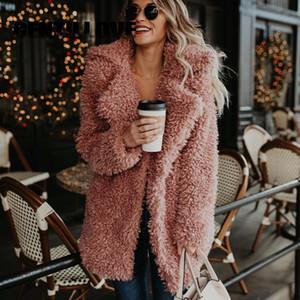 Gentillove Kabarık Faux Kürk Kadın Kalınlaşmak Kış Sahte Kürk Pembe Siyah Ceket Kadın Moda Streetwear Giyim Abrigo Mujer