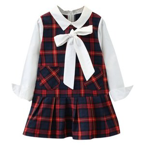 Autumn Casual Children Baby Girls Dress Cotton Patchwork Plaid Print Long Sleeve Turn-down Collar Dress Kids Toddler Sundress