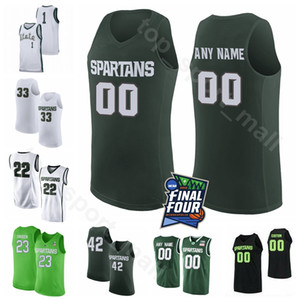 NCAA 2019 Final Four Custom College Basketball Michigan State Spartans Maglie 23 XAVIER TILLMAN 25 KENNY GOINS 11 AARON HENRY 0 KYLE AHRENS