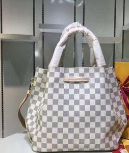 Bolso de mujer Boutique de lujo marca de moda de cuero genuino Simple celosía Banquete original platino Señoras Mensajero del hombro fecha Bolsas