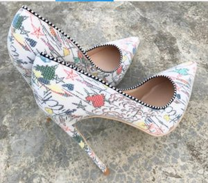 2019 Coloured Fish Scale printing High-heeled Shoes Tip Fine-heeled Shallow-mouthed Single Shoes large size 44 nightclub dance 8cm 10cm 12cm