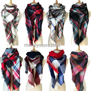 Women Plaid Scarves Grid Tassel Wrap Oversized Check Shawl Winter Neckerchief Lattice Triangle Blanket Scarf Free Shipping