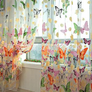 Kelebek Baskılı Perde Tül Voile Kapı Pencere Balkon Şeffaf Paneli Sıcak Ekran Perde Malzemeleri